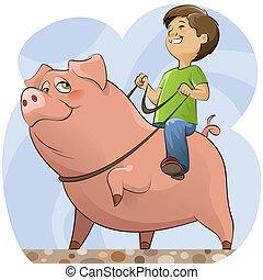 Cerdo y niño