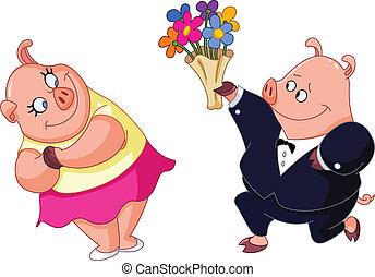 Cerdos enamorados