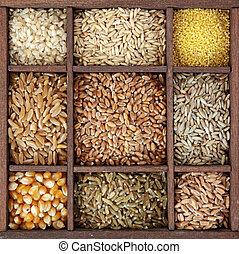 Cereales en caja de madera
