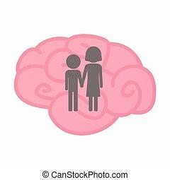 Cerebro aislado con un pictograma de la infancia