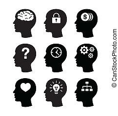 cerebro, auriculares, vecotr, iconos