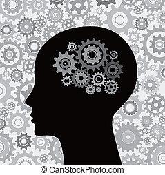 cerebro, cabeza, engranajes, plano de fondo