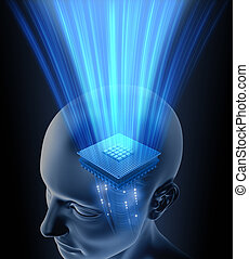 cerebro, cabeza, procesador