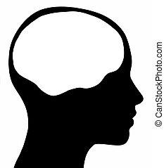cerebro, cabeza, silueta, hembra, área