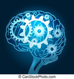 Cerebro con ilustración de engranajes