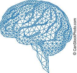 Cerebro con patrón geométrico, vecto