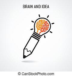 Cerebro creativo y signo de lápiz