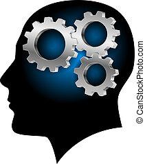 cerebro, dentro, seres humanos, gearwheel