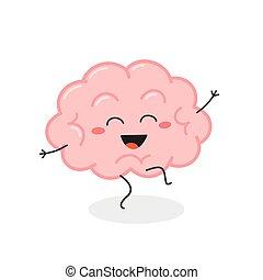 cerebro, divertido, carácter, vector, caricatura, ilustración, bailando