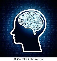 Cerebro humano con engranajes en el fondo de matriz número