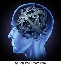 Cerebro humano confundido
