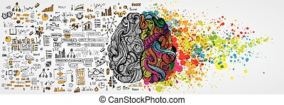 Cerebro humano izquierdo y derecho con información social del lado lógico. La mitad creativa y la lógica la mitad de la mente humana. Ilustración de vectores de comunicación social y trabajo de negocios