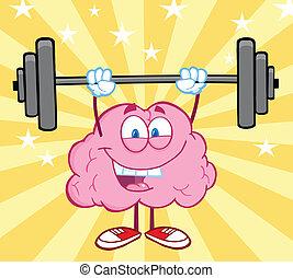 cerebro, pesas, elevación, feliz