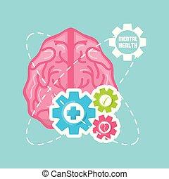 Cerebro sano con engranajes de trabajo