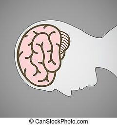cerebro, silueta, símbolo, cabeza humana