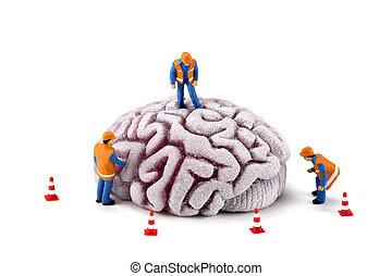 cerebro, trabajadores, construcción, concept:, inspeccionar
