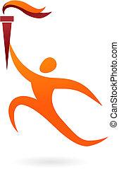ceremonia, figura, -, vector, juegos olímpicos, deporte