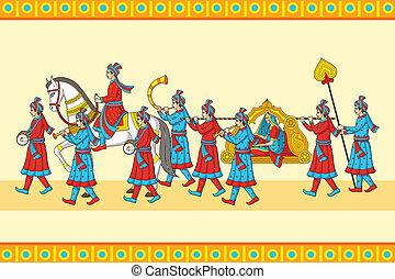 ceremonia, indio, baraat, boda