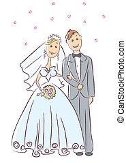 ceremonia, novia, novio, .vector, boda