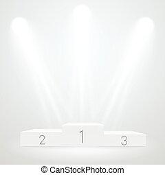 ceremoty, vector, plantilla, premio, deporte, iluminado, blanco, mockup., podium.