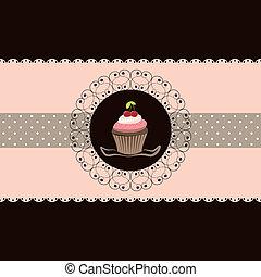 cereza, cupcake, tarjeta, invitación