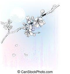 cereza, flor lleno, flores