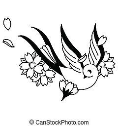 cereza, pájaro cantor, flores
