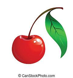 Cereza roja con una hoja verde