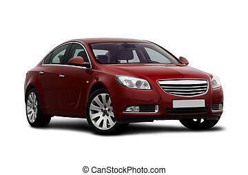 cereza, vista, front-side, coche rojo