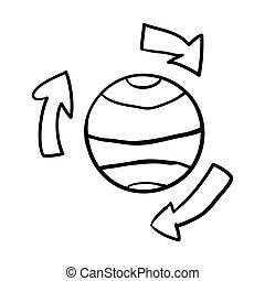 cero, tierra, mano, vector, símbolo., aislado, meridianos, ilustración, flechas, grueso, white., garabato, globo, waste., reciclar, dibujado