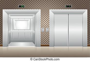 cerrado, puertas de ascensor, dos, abierto