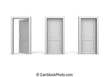 cerrado, -, tres, gris, dos, puertas, uno, abierto, izquierda