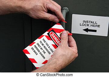 cerradura, etiqueta, afuera, peligro