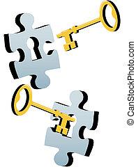 cerradura, rompecabezas, rompecabezas, abrir, solucionar, llave
