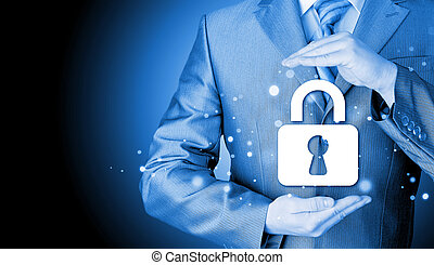 cerradura, seguridad, concepto, proteger, hombre de negocios