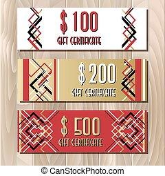 Certificado de regalo dorado en diseño de diseño artístico
