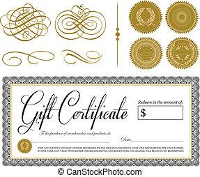 Certificado de vector y adornos