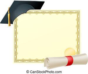 certificado, plano de fondo, graduado