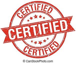 Certificado sello de cinta adhesiva rojo retro aislado