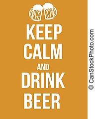 cerveza, bebida, calma, retener