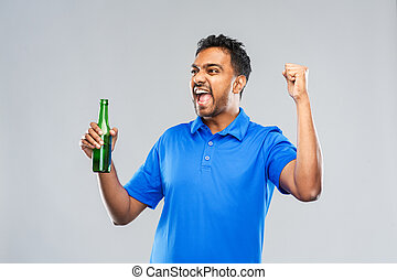 cerveza, celebrar, macho, botella, ventilador, victoria