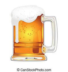 Cerveza con vejiga en vaso blanco