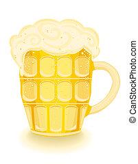 Cerveza fría en una taza.
