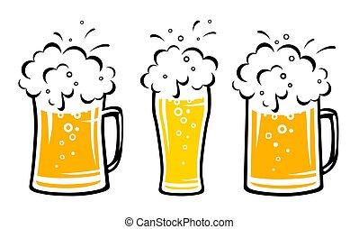 cerveza, goteos, burbujas, conjunto, jarra