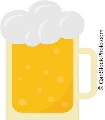cerveza, ilustración, vector, blanco, vidrio, fondo.
