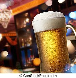 cerveza, mostrador, barra