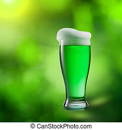 cerveza, natural, confuso, fondo., vidrio, verde
