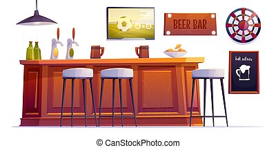 cerveza, tazas, barra, botellas, bar, llenar, escritorio