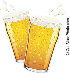 cerveza, vector, brindar, pintas