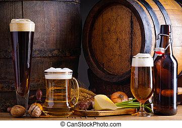 Cerveza y comida tradicional